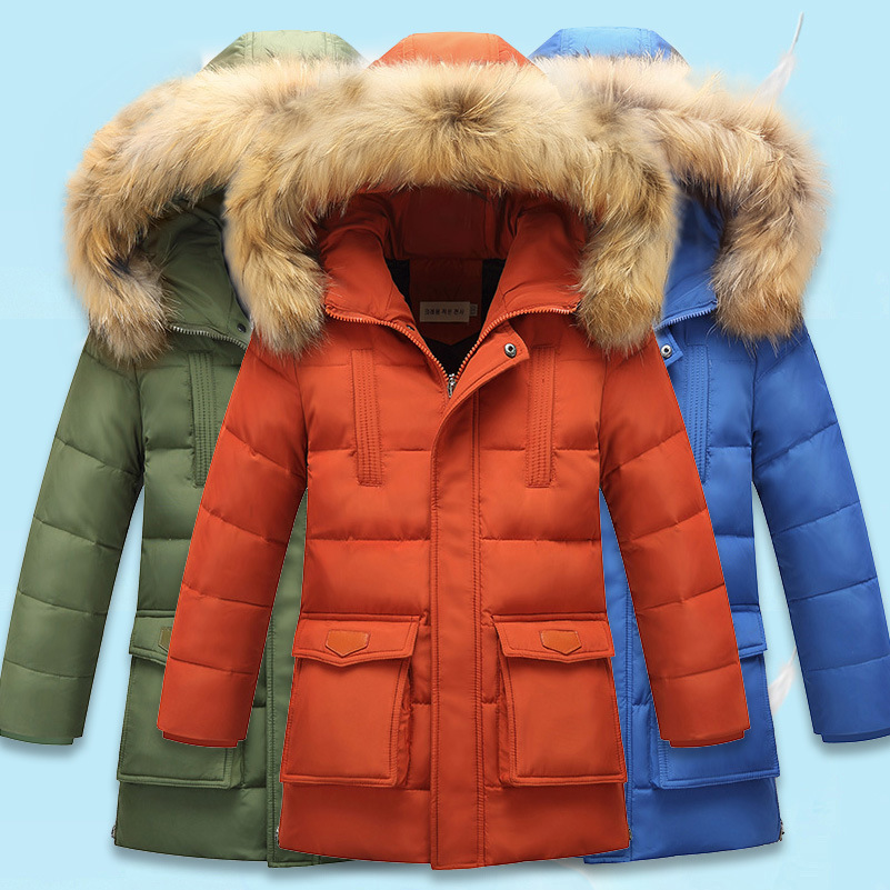 High-quality Kids Winter Down Coat Whit Raccoon Fur Children Thick Warm Hooded Jacket -30 Degree Boys Girls Casual Outerwear 2 14y winter boys duck down jacket girls outerwear thick warm raccoon fur hooded kids parka coats 30 degree