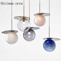 Nordic creative gradient glass ball chandelier Restaurant Bar bedroom modern art color LED single head glass chandelier