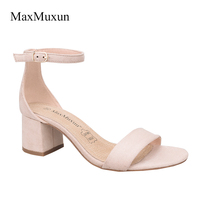 MaxMuxun Women Sandals 2017 Summer Ankle Strap Square Heel Open Toe High Heels Buckle Strap Lady