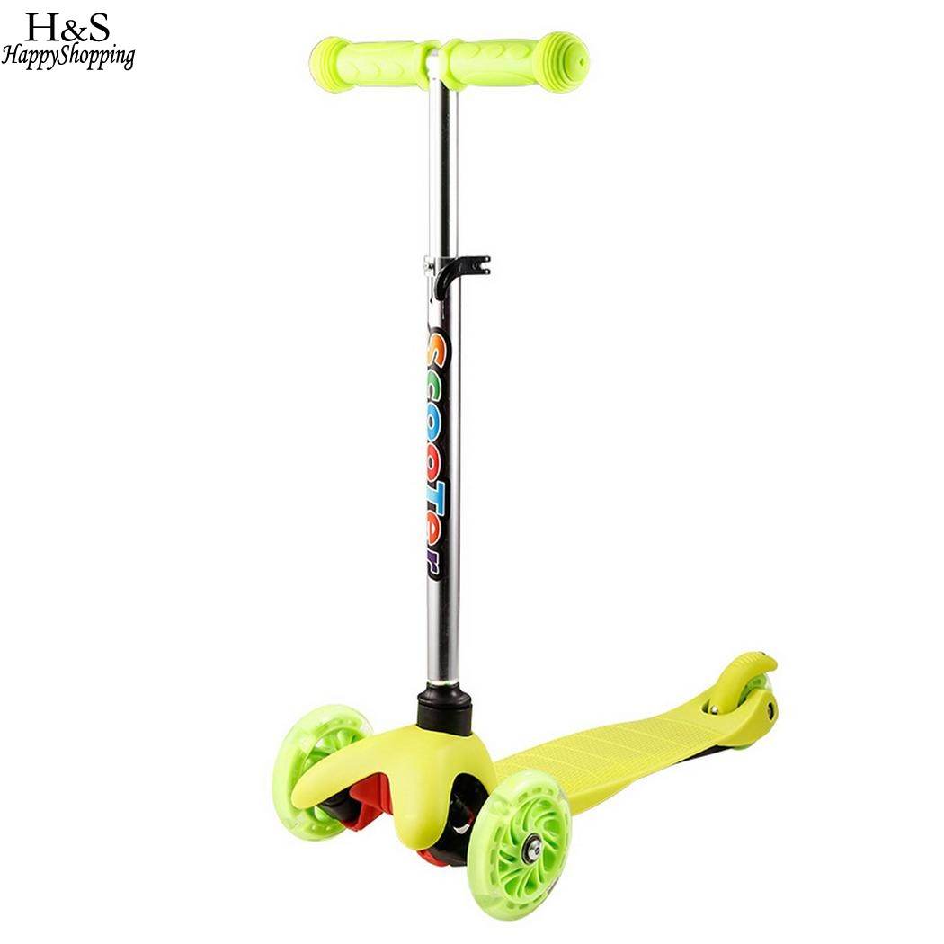 Kids Kick Scooter 3-Wheel 4 Levels Foot Scooters Exercise Toys Children Adjustable Height with LED Light Up Wheels