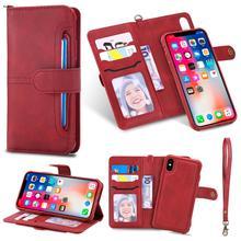 Para o iphone x caso de couro luxo 2 em 1 destacável flip magnética carteira acessórios do telefone capa para o iphone xr xs 7 8 6plus