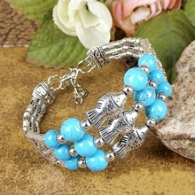 лучшая цена Free shipping Hot sale Jewelry Tibetan Silver Plated Fish Bracelet Glass Bead Stone Adjust Size Bangle Blue/Red/Black A206G
