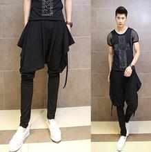 Black 2016 big pocket trousers men pants harem pants 1 men skinny pants fashion mens pants personality brand clothing XL