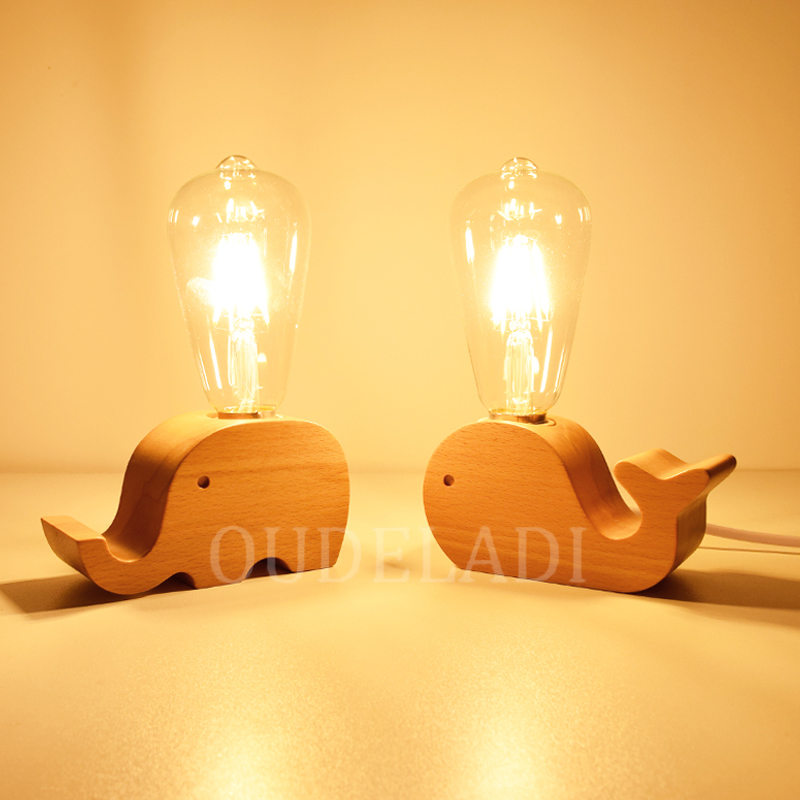 Nordic modern minimalist dream soft light small table lamp bedroom plug in bed solid wood