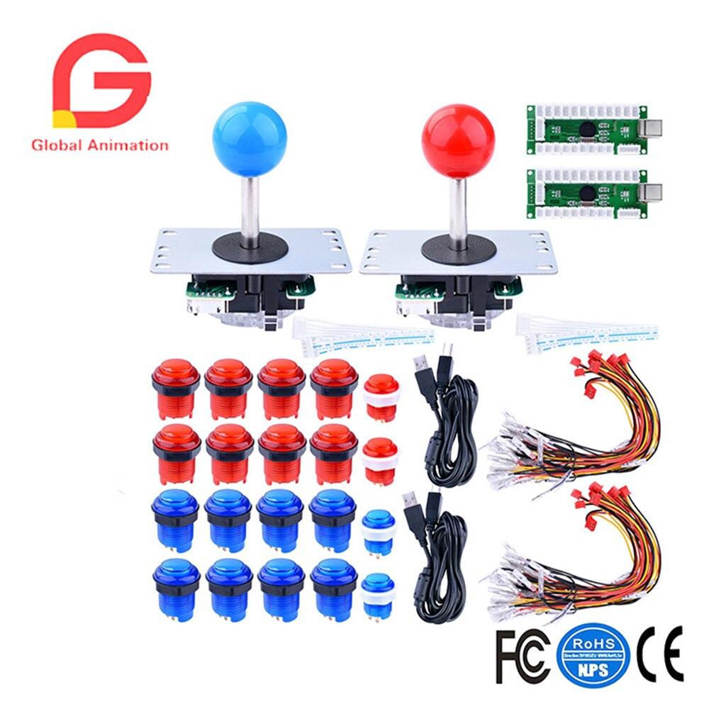 Pour Raspberry Pi 3 2 modèle B Retropie LED Arcade bricolage pièces 2x zéro retard encodeur USB + 2x8 voies Joystick + 20x LED boutons poussoirs