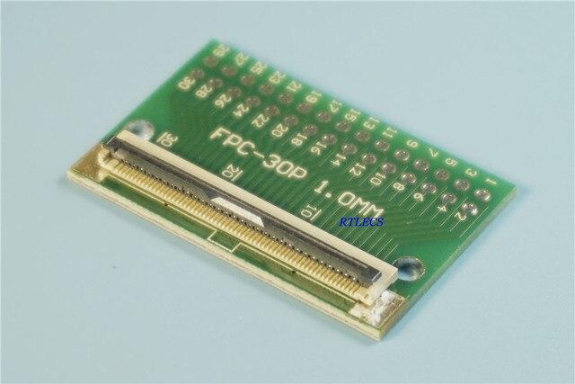 2 قطع مرنة شقة كابل ffc/الشركة العامة للفوسفات موصل محول 30 دبوس 1.0 ملليمتر ل 2.54 ملليمتر x 2.54 ملليمتر 2x15 30 دبوس إلى حفرة dip pcb tft lcd
