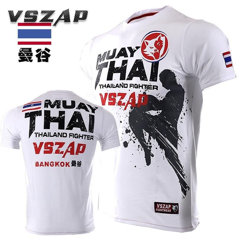 VSZAP Bangkok Boxing MMA T Shirt Gym Tee Shirt Fighting Martial Arts Fitness Training Wolf Muay Thai T Shirt Men Homme S-4XL