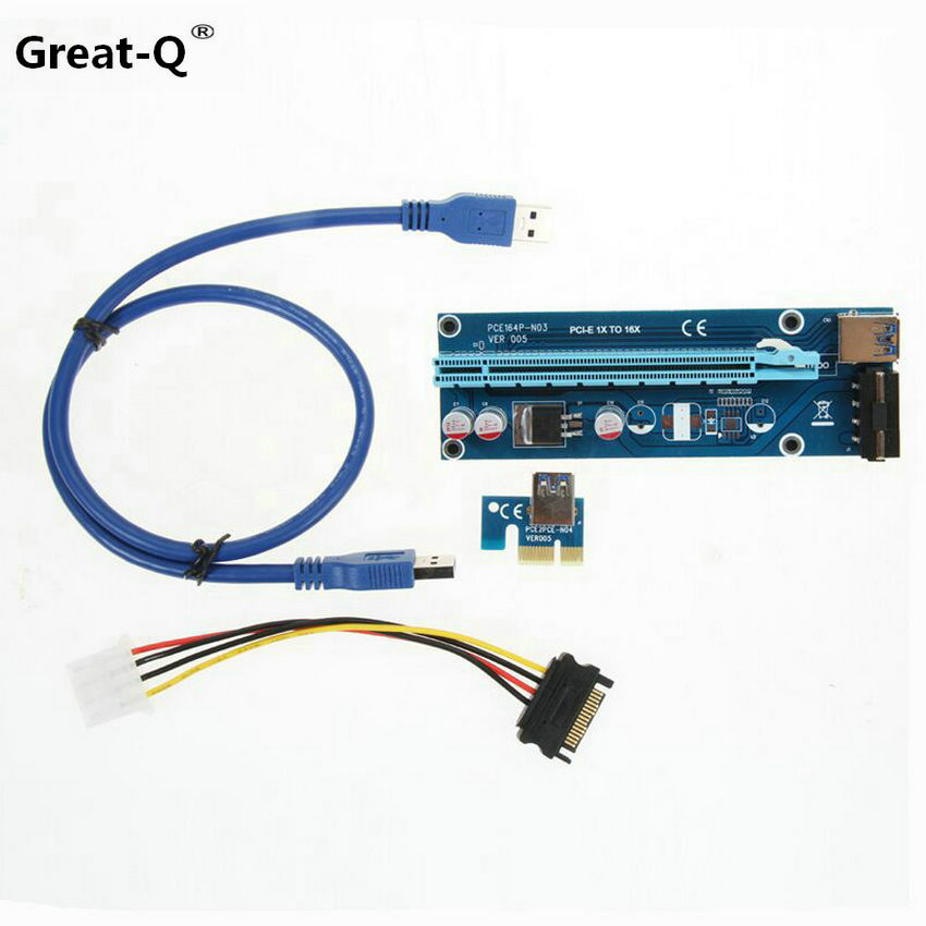 Great-Q 10PCS PCIe PCI-E PCI Express Riser Card 1x to 16x USB 3.0 Data Cable SATA to 4Pin IDE Molex Power Supply riser pci e x16 pcie pci express 16x to 16x riser extender card with molex ide power