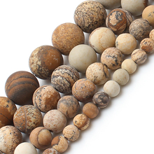 Dull Polish Matte Natrual Picture Jasper Stone Round Beads For Jewelry Making Bracelet Necklace 4/6/8/10mm 15inches