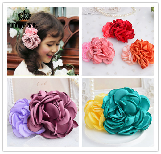 1pcs Beautiful Girls Party Hair Clips Two flowers hair accessories Princess Barrette Photography Favor 1 pcs fashion cute dimensional flowers baby hairpins girls hair accessories children headwear princess barrette kids hair clips