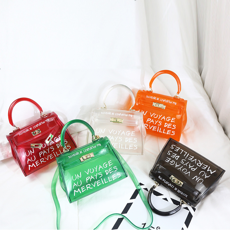 Satchel Handbag Women Bag Clear Jelly Transparent PVC Bag Candy Color Tote Bag Designer Purse Bolsa Crossbody Bag