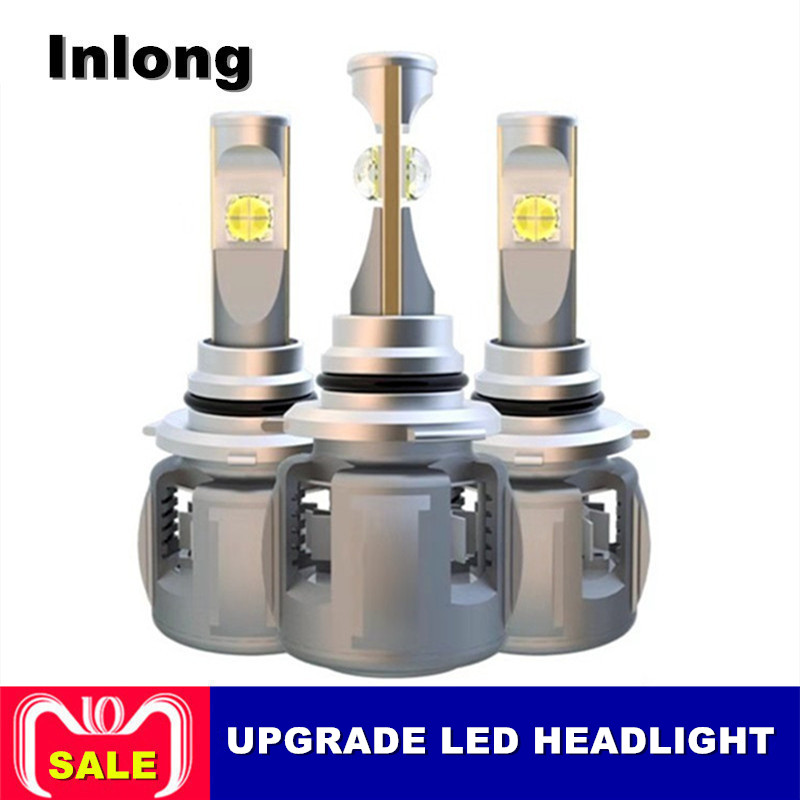 Inlong X70 H4 H7 H1 9005 9006 автомобилей светодио дный лампа фары H11 H9 H8 D1S D2S D4S погрузчик оригинальный чип 60 Вт 7800LM фары противотуманные Light 6000 К