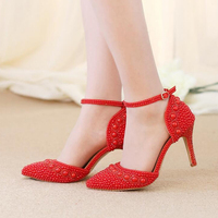 Women Summer Sandals Pointed Toe Rhinestone Pearl Wedding Party Shoes Gorgeous Bridal Shoes With Ankle Straps