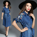 Mujeres denim dress 2017 de la nueva vendimia vestidos turn-down collar largo three quarter bordado vestidos femininos con blet