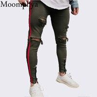 Moomphya 2018 New Arrived Men Side Red Stripe Biker Jeans Denim Ripped Holes Slim Supper Skinny