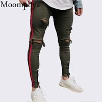 Moomphya 2018 New Arrived Men side red stripe biker jeans denim ripped holes slim supper skinny hip hop jeans men