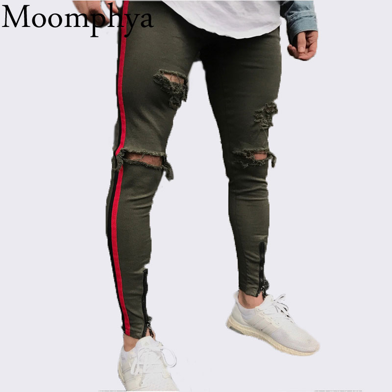 Moomphya 2018 New Arrived Men side red stripe biker jeans denim ripped holes slim supper skinny hip hop jeans men