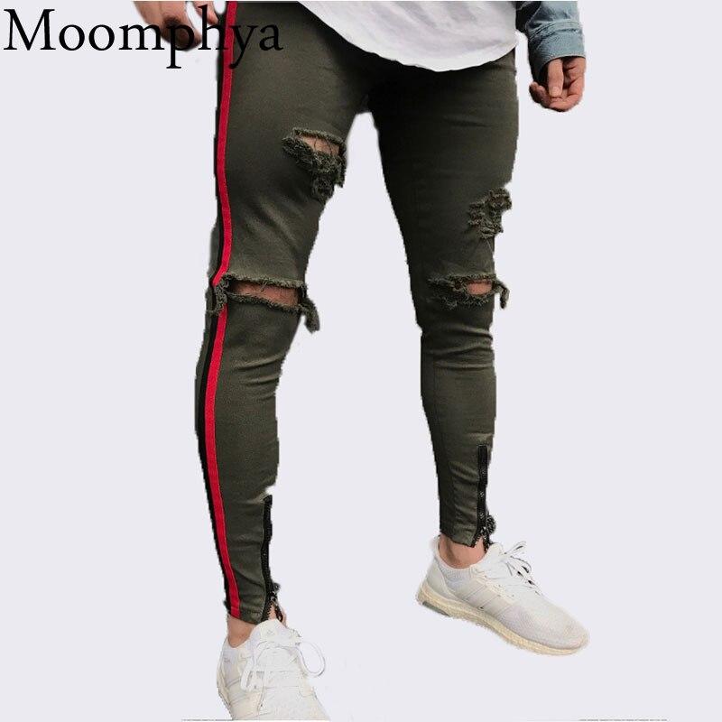Moomphya/2018 Новая коллекция Для мужчин сбоку в красную полоску байкерские джинсы джинсовые рваные тонкий ужин скинни в стиле хип-хоп джинсы Для мужчин