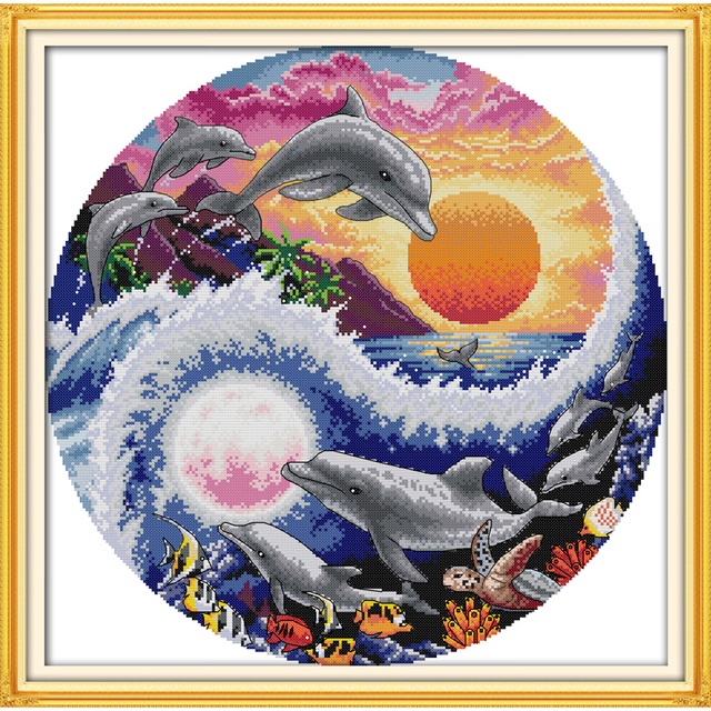 Sun,moon and dolphins landscape cross stitch patterns free cartoon ...