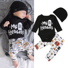 Cool 3Pcs Halloween Baby Girl Boy Infant Outfits Long Sleeve First Halloween Romper Tops Long Pumpkin Pants Hat Autumn Clothes(China)