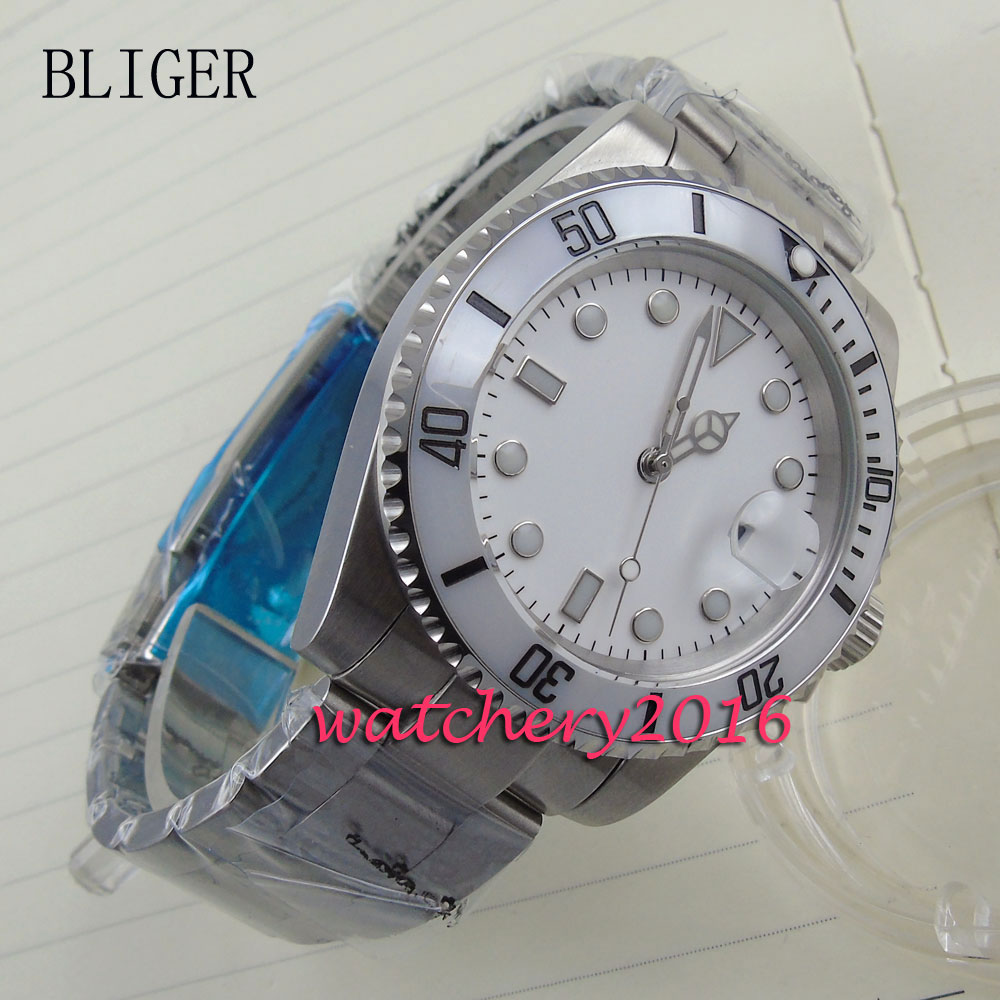 все цены на new 40mm Bliger white dial luminous markers ceramic bezel date adjust sapphire glass Automatic movement Men's business Watch онлайн