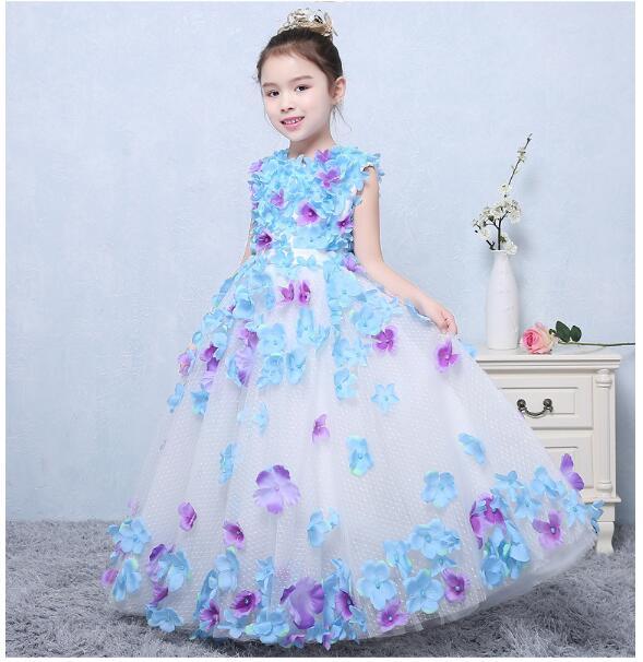 Girls Formal Dresses 2018 Summer Handwork Flowers Girls Dress Cute Kids Gauze Party Ball Gown Children's Catwalk Wedding Dresses