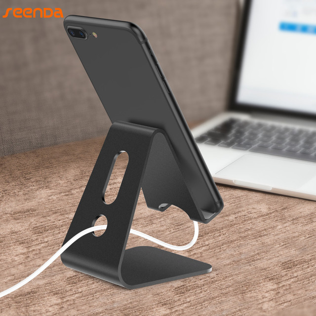 SeenDa Universal Aluminium Stand Desk Holder For Xiaomi Mobile Phone Holder For iPhone Metal Tablets Stand For ipad Black Friday 2