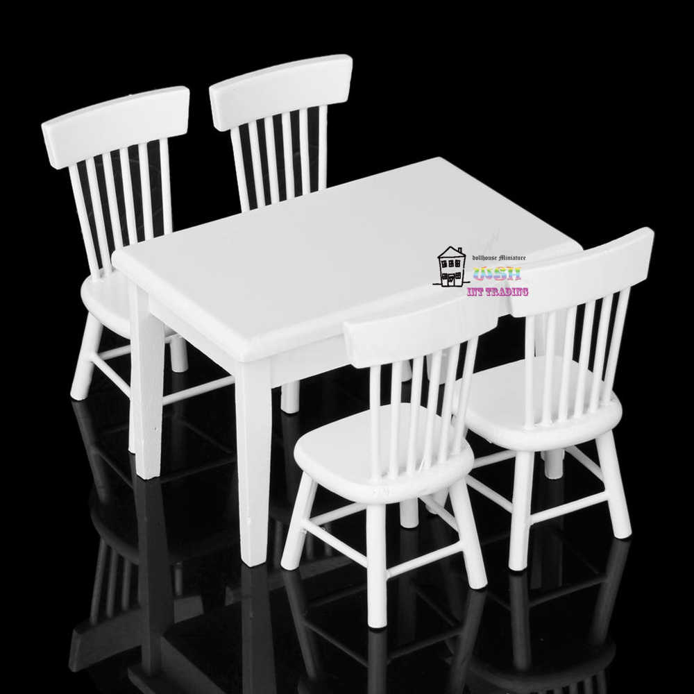 "4.01"" 1:12 Dollhouse Miniature Kitchen Furniture White Wooden Dining Table Chair 5pcs Children Gift"