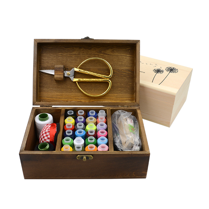 Natural Wood Multi-function Sewing Kit Box Household Hand Sewing Box Kit Set Cross-Stitch Needlebox DIY HomeTools