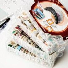 1 Pcs PP MultiFunction 3 layers 18 grids Washi tape storage box transparent Tool Set