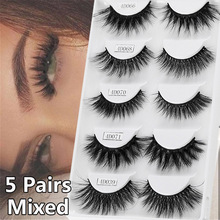 5 Pairs Mixed Styles 3D Mink Hair False Eyelashes Handmade Natural Long Eyelash Wispy Fluffy Multilayer Lashes Reusable