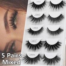 5 paires de Styles mixtes 3D vison cheveux faux cils à la main naturel Long cils vaporeux moelleux multicouches cils réutilisables