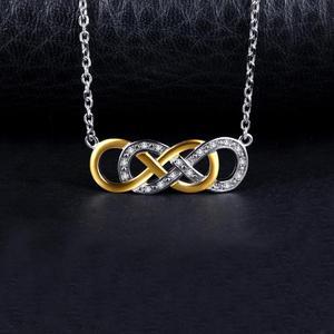 Image 2 - JewelryPalace אינפיניטי CZ זהב כסף תליון שרשרת 925 כסף סטרלינג שרשרת הצהרת קולר צווארון שרשרת נשים 45cm
