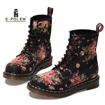 Fashion Canvas Martin Boots for Women Autumn Winter Casaul Ankle Boots with Flowers Pattern Female Short Boots Cute Girls Shoes stylish various flowers pattern chiffon sarong for women