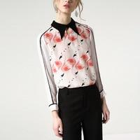 Silk Print Long Sleeve Pullovers Blouse 2018 New Brand Runway Women Spring Summer Shirts High Quality