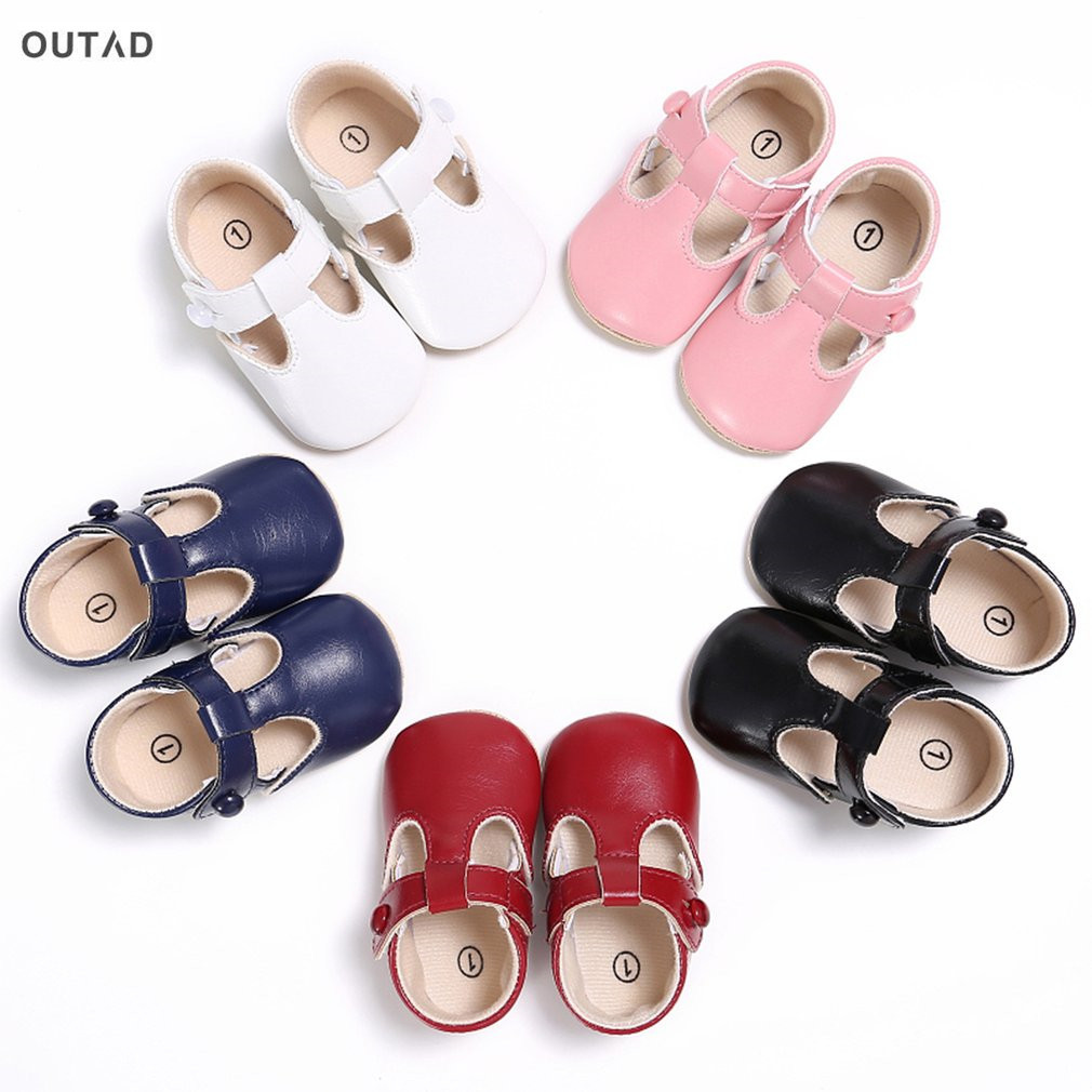 OUTAD Baby Girls Ballet Shoes PU Leather Buckle Newborn Princess Shoes Soft Solid Crib First Walkers Fashion Shoes 3-18 Months