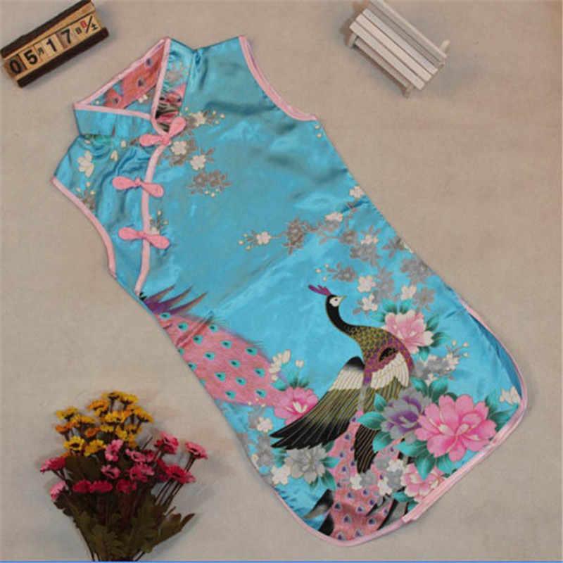 2019 novas meninas do bebê chinês qipao roupas clássico sem mangas menina criança bebê impresso pavão floral cheongsam vestido
