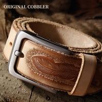 MEN'S GENUINE LEATHER BELT Trendy design feather print belt for man&women Pants accessories Cowskin belt ORIGINAL COBBLER