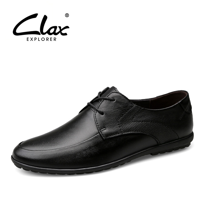 CLAX Men Casual Shoe Genuine Leather 2017 Autumn Shoe Male Black Leather Footwear Designer Flat Walking Shoe Soft Classic clax men loafers shoes slip on 2017 summer autumn leather shoe for male casual footwear flat moccasin boat shoe breathable