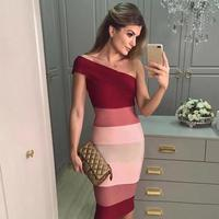 Newest Celebrity Party Bodycon Bandage Dress Women Short Sleeve One Shoulder Sexy Night Out Club Backless Dress Women Vestidos