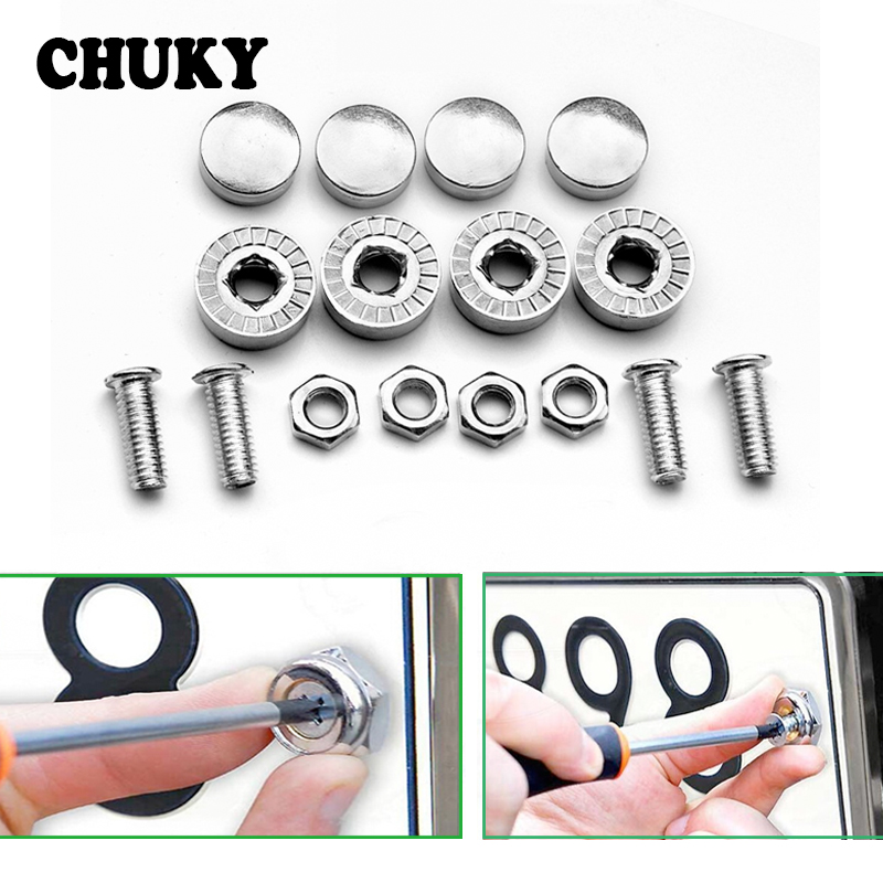 1 Set Stainless steel Car License Plate Bolts Frame <font><b>Chrome</b></font> Screws for <font><b>Mercedes</b></font> Benz W212 <font><b>W124</b></font> W204 AMG Renault Clio Logan Trafic image