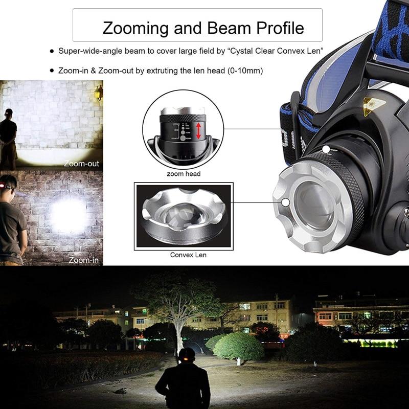 Светодиодный налобный фонарь 5000lum с датчиком движения, светодиодный налобный фонарь V6/L2/T6 с зумом, фонарик с 2*18650 батареей для рыбалки