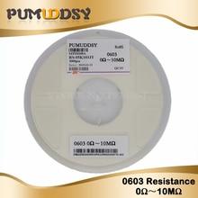 5000Pcs 0603 SMD 1/8W chip resistor resistors 0 ohm ~ 10M ohm 0R 1K 4.7K 4K7 10K 100K цена