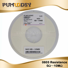 5000Pcs 0603 SMD 1/8W chip resistor resistors 0 ohm ~ 10M ohm 0R 1K 4.7K 4K7 10K 100K 10000pcs chip resistor 0402 smd resistor 1m8 ohm 5