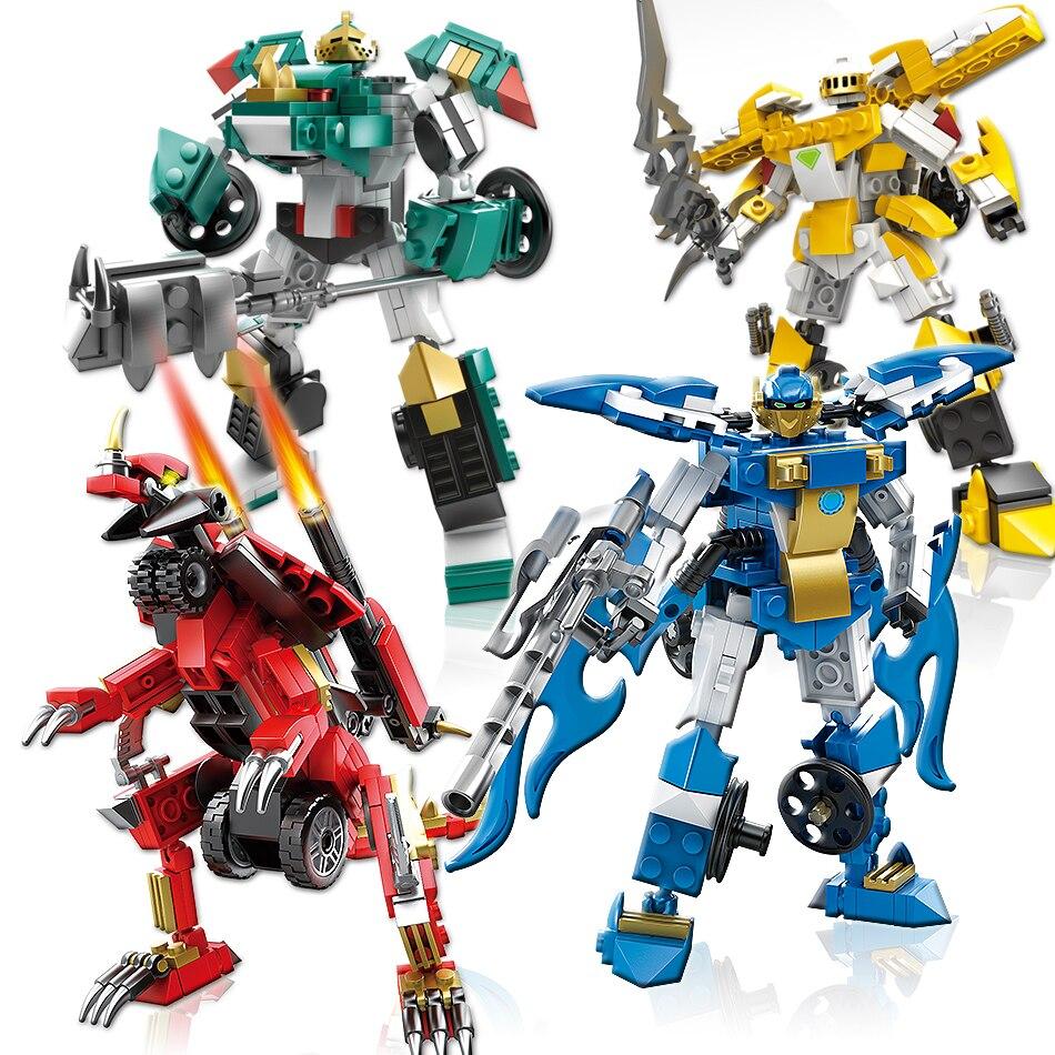 KAZI 4 pcs/ensemble Robot Transformation Camion De Voiture Véhicule Figures Building Blocks Briques Compatible Avec Legoe Cadeau Jouets Pour Enfants