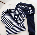 Spring Kids Clothes, Navy Long Sleeve Pullover Striped Sports Suit, Hot Sale New 2017 Casual Boys Clothing Set