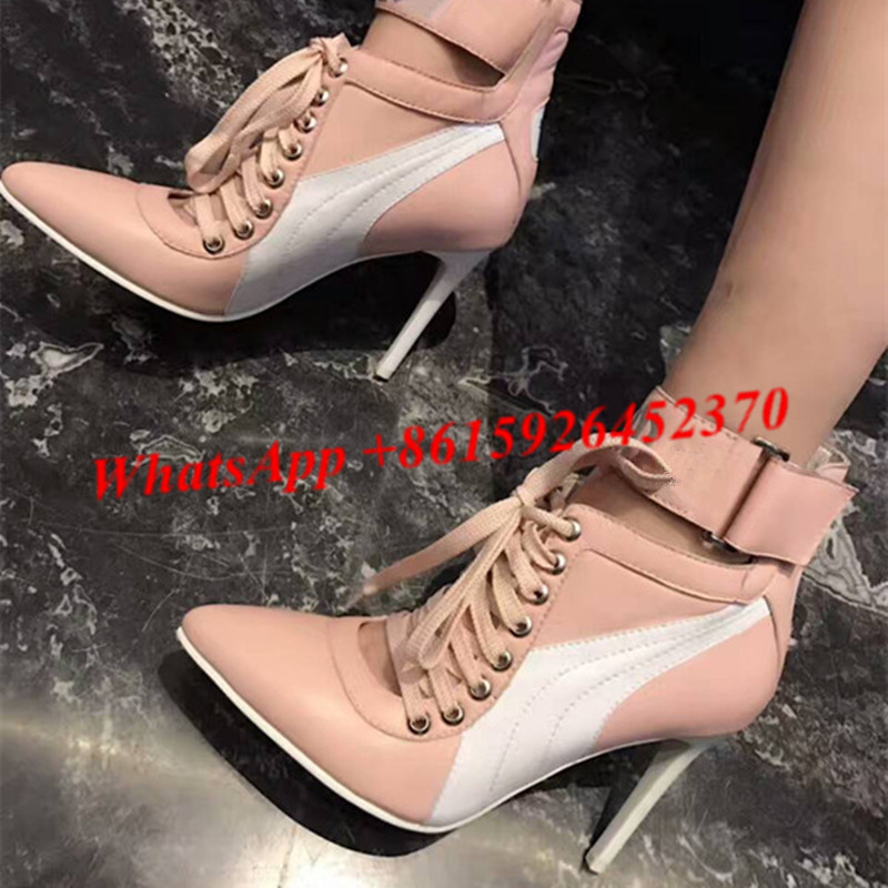 0ee235440783 Light Pink Lace Up Booties Pointed Toe Ankle Cuff Boots Real Leather Women  Booties High Heels Shoes Woman Boots Runway Shoes