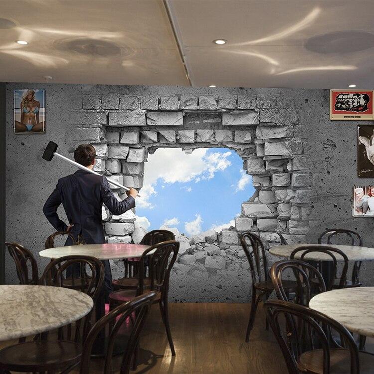 3D Broken Wall White Cement Brick Wall Wallpaper Living