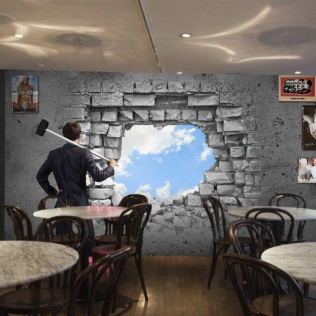 Custom photo wallpaper 3D broken wall white cement brick wall wallpaper living room dining room wallpaper mural