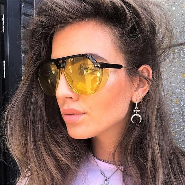 84aecd7259305 VIVIBEE 2019 Trend Steampunk Sunglasses Women Men Gothic Sun Glasses  Aviation Vintage Yellow Goggles Female Elegant